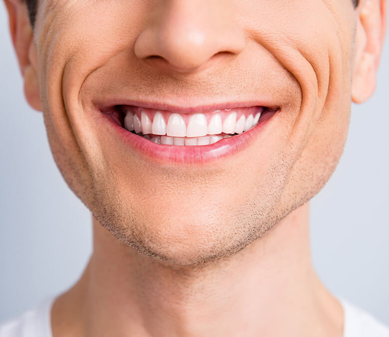 closeup of a man's smile
