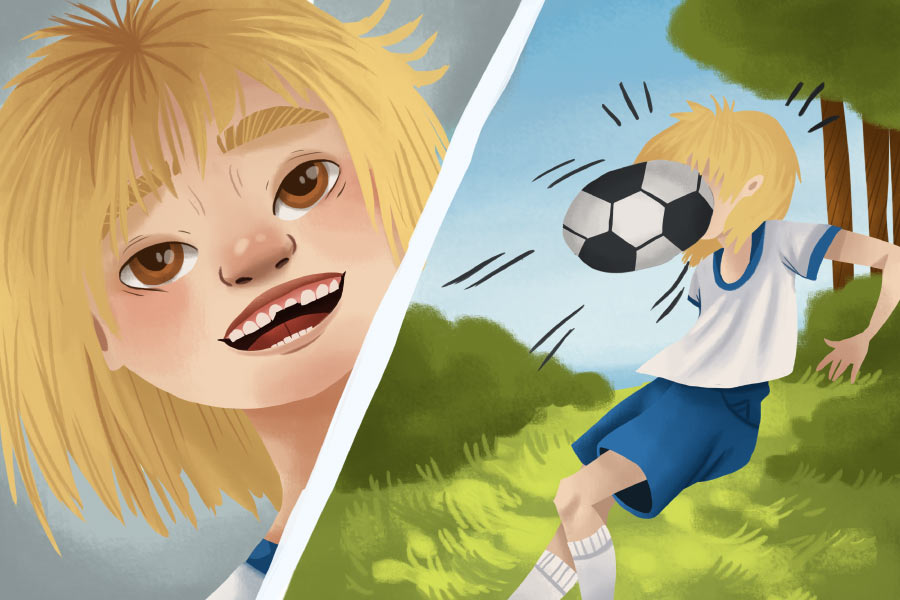 Cartoon of a girl playing soccer with an athletic mouthguard and gets her front teeth chipped