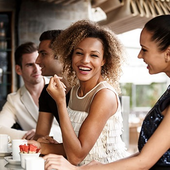 woman enjoying time with friends